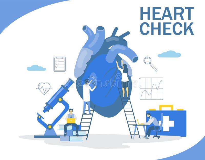 Control del corazón, ejemplo plano del diseño del estilo del vector stock de ilustración