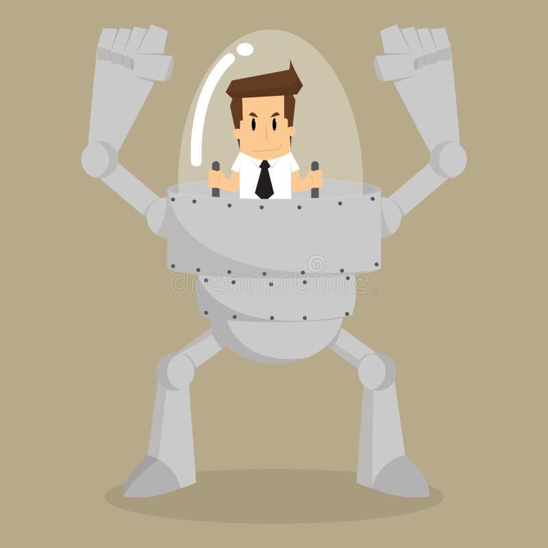Control del hombre de negocios el trabajo auxiliar del robot ilustración del vector