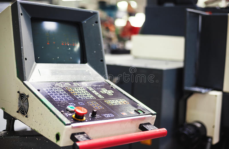 Control Desk of Industrial Machine. Old and very used control desk of industrial machine stock photo