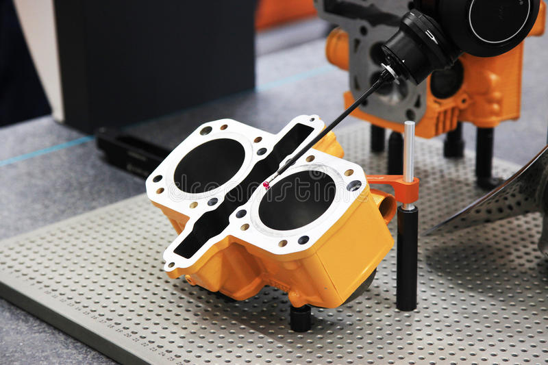 Control of dimensions in engineering. Precision sensors for fast, accurate acquisition of component dimensions and surface data. Measurement systems for CMMs stock photo
