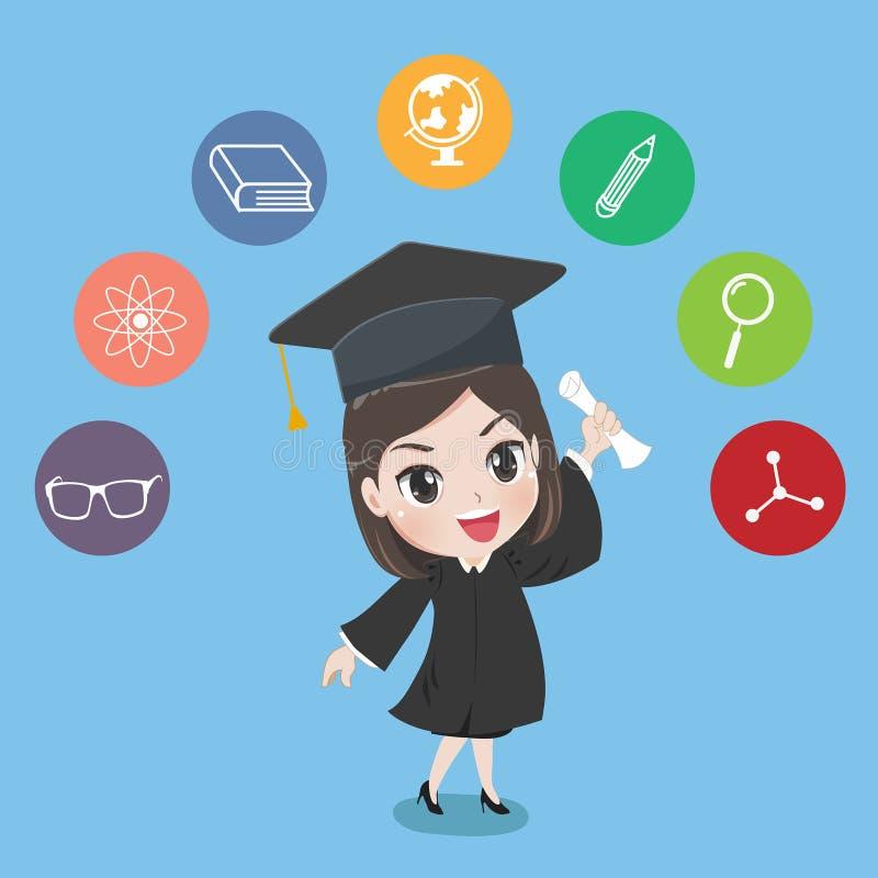 Control graduado de la muchacha el certificado con orgullo ilustración del vector