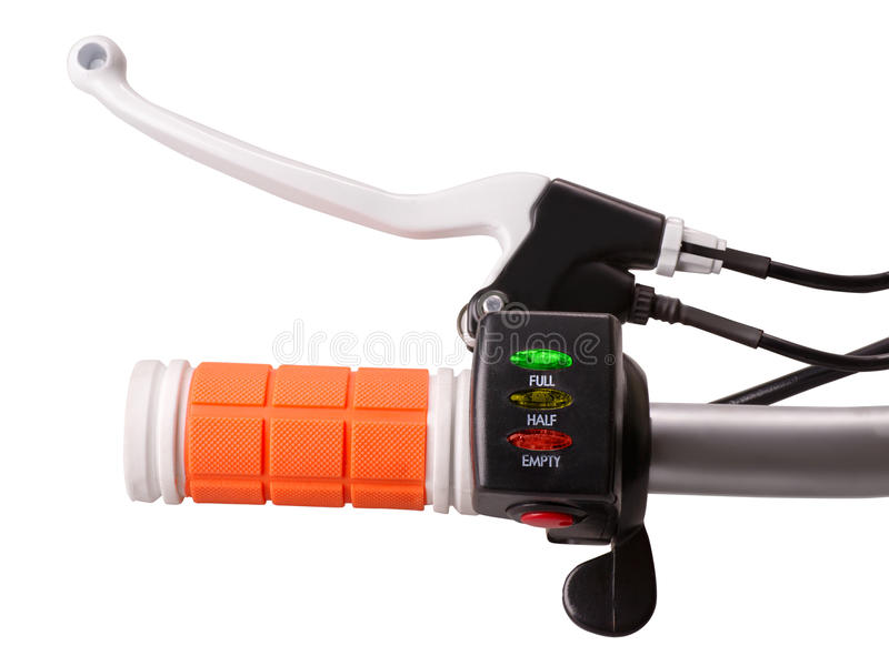 Control handle of electric bike with brake crank battery indicator and power switch stock image