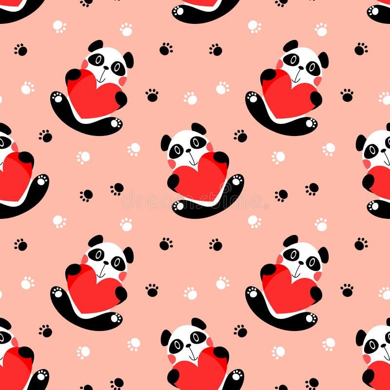 Control lindo de la panda un modelo inconsútil del corazón grande stock de ilustración