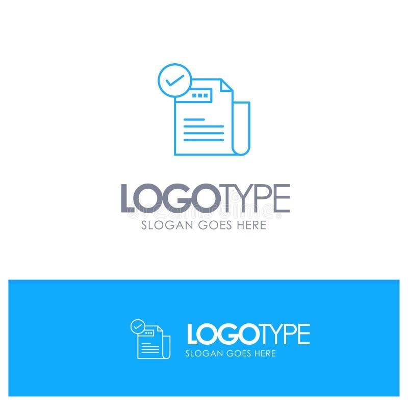Control, lista de control, característica, ofrecida, características, logotipo azul del esquema con el lugar para el tagline stock de ilustración