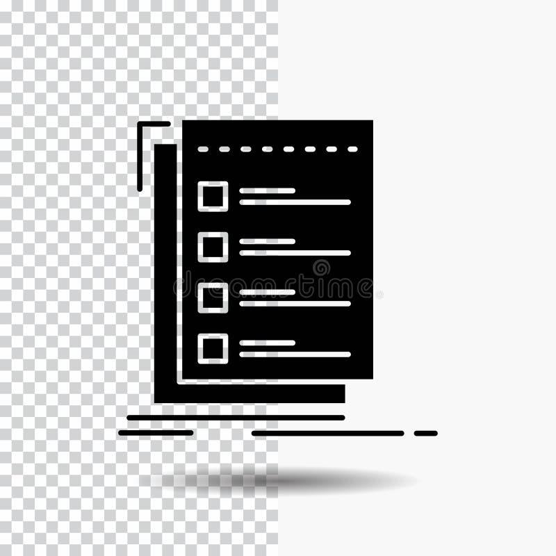 Control, lista de control, lista, tarea, de hacer el icono del Glyph en fondo transparente Icono negro stock de ilustración