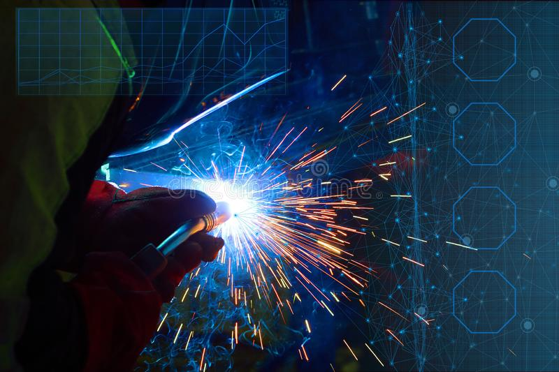 Control of the main parameters of welding in a protective gas environment carried out by an artificial intellect and the use of th. E Internet of things for the royalty free stock photography