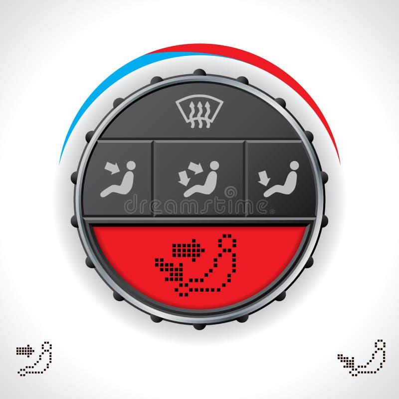 Control multifuncional del clima del coche con la exhibición roja stock de ilustración