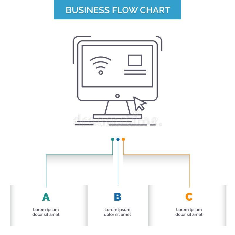 Control, ordenador, monitor, dise?o remoto, elegante del organigrama del negocio con 3 pasos L?nea icono para la plantilla del fo libre illustration