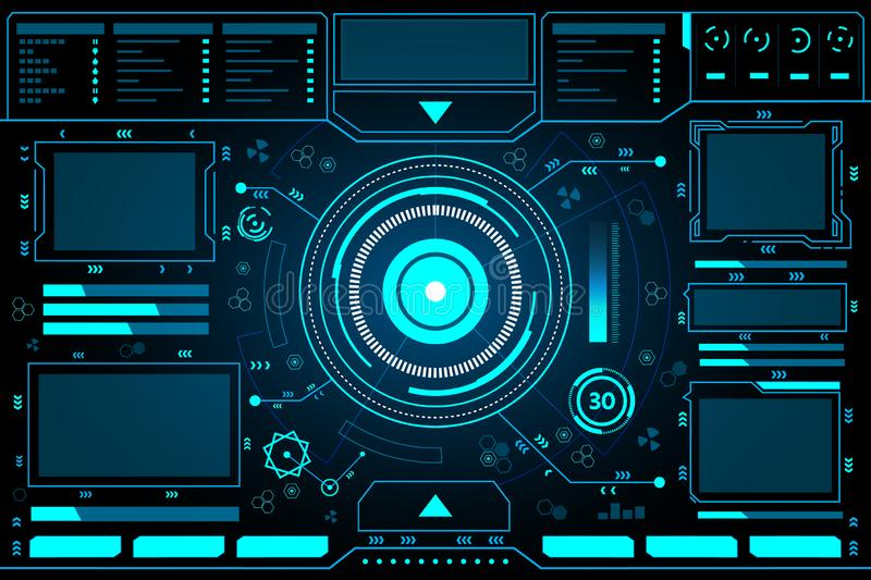 Control panel abstract Technology futuristic Interface hud background  design. Control panel abstract Technology futuristic Interface hud on black background stock illustration