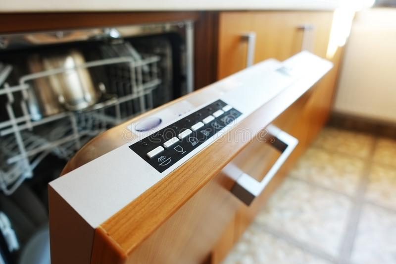 Control panel of a built-in dishwasher machine royalty free stock image