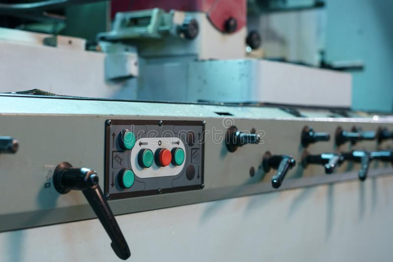Control panel with buttons and levers on machine royalty free stock photos