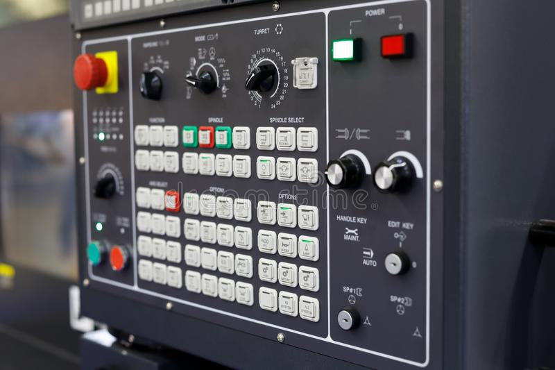 Control panel of CNC metalworking machining center royalty free stock images