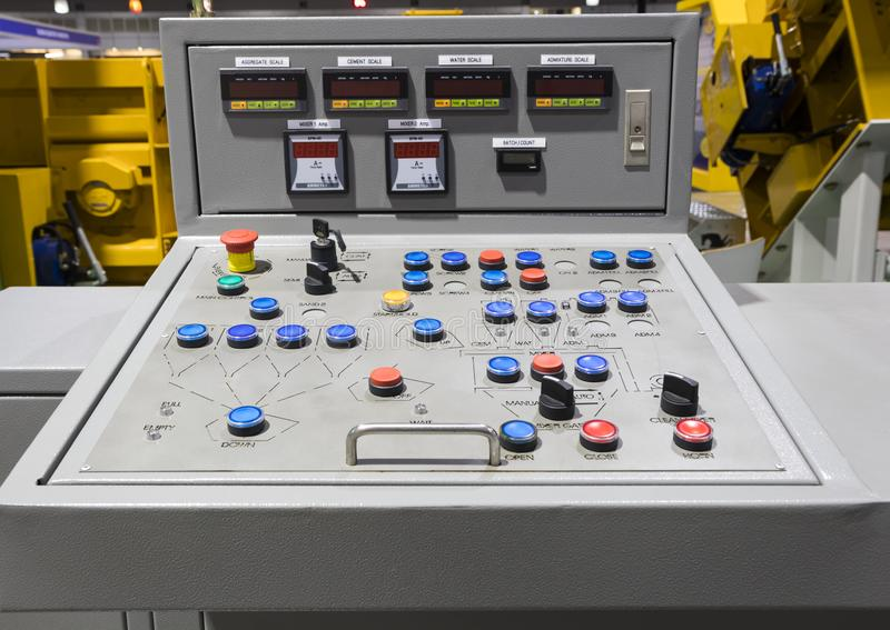 Control panel for concrete mixing plant stock photos