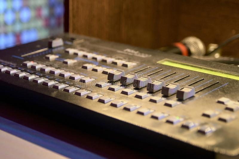 Control Panel. Different buttons. Modern equipment stock photography