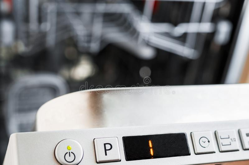 The control panel of the dishwasher. Select the program for dish royalty free stock image