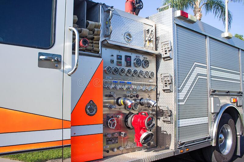 Control panel on fire engine stock photo