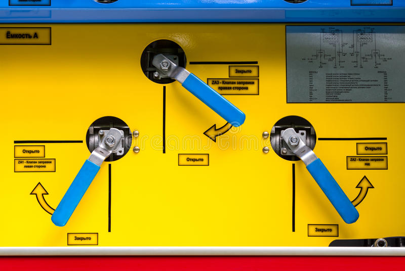 Control panel of fire truck royalty free stock photos