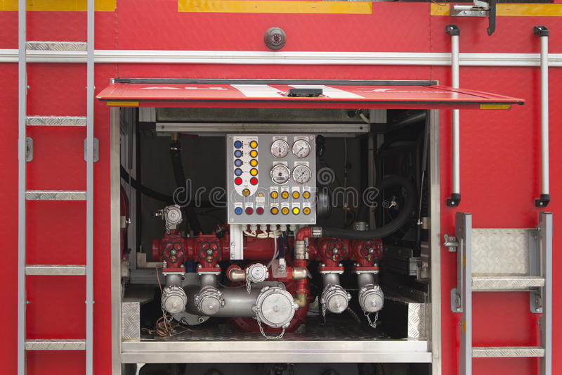 Control panel of the fire truck stock images