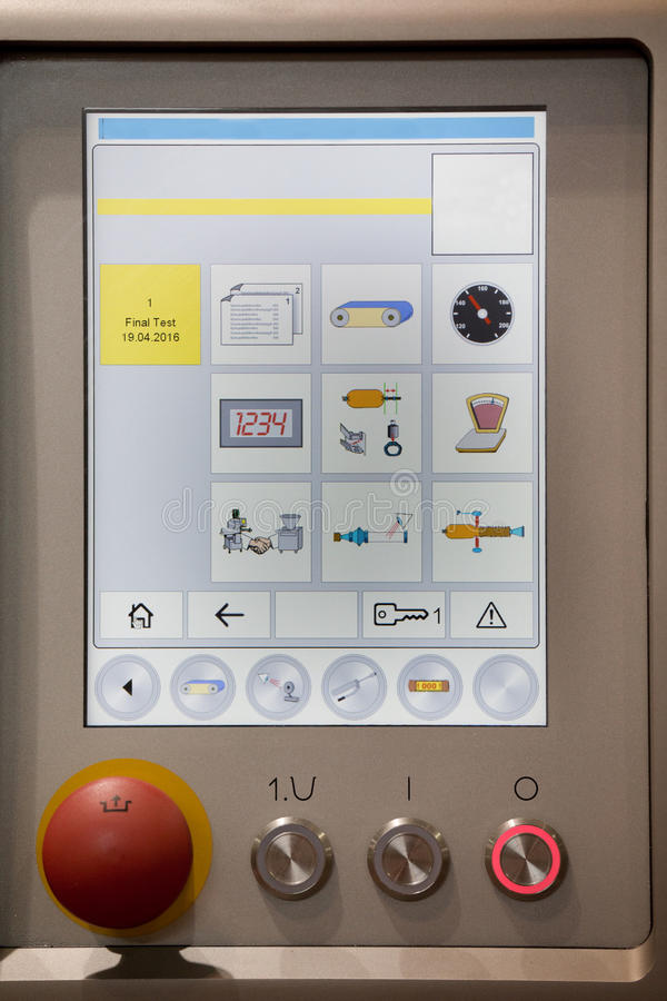 Control panel in food industry machine stock images