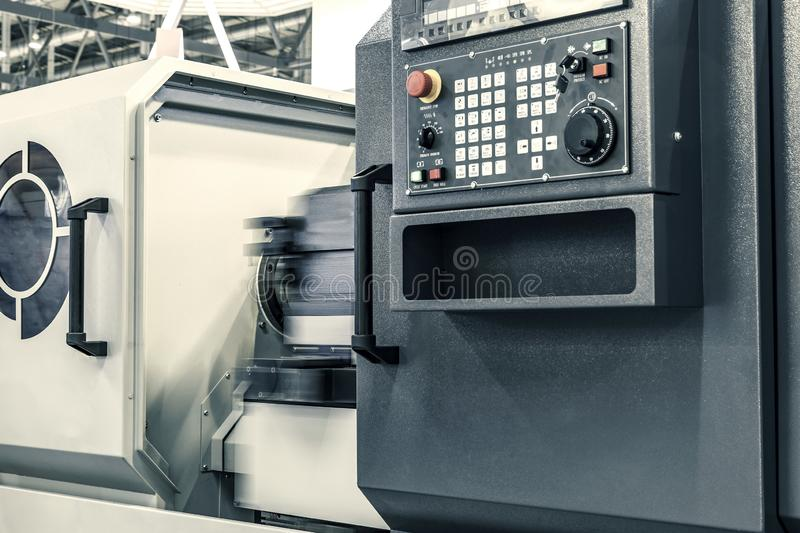 Control panel of high precision CNC metalworking machine stock images