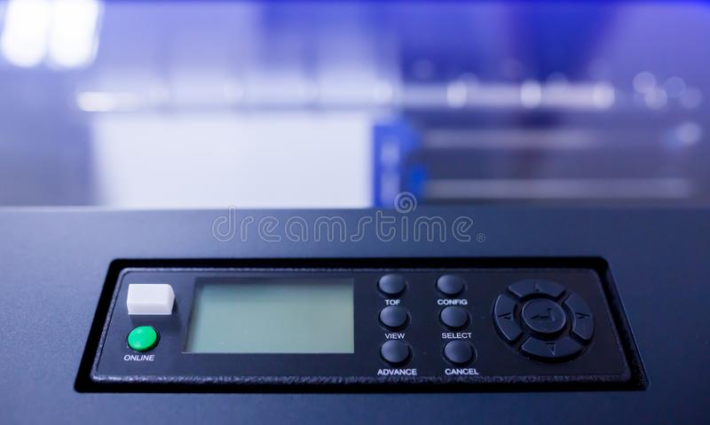 Control panel of line printer or large dot printer for job of back office report. Or many information printing royalty free stock images