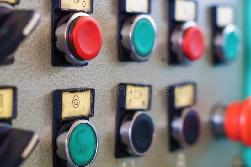 The control panel of the machine with buttons and switches. stock photography