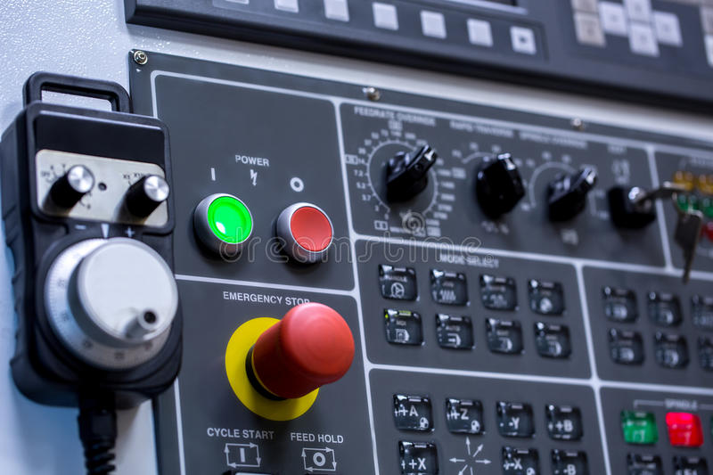 Control panel of machine. Switches, close-up royalty free stock image