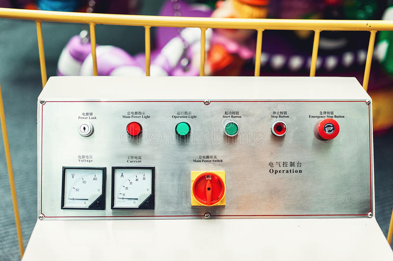 Control panel in main engine room. inscriptions in English and Chinese royalty free stock photos