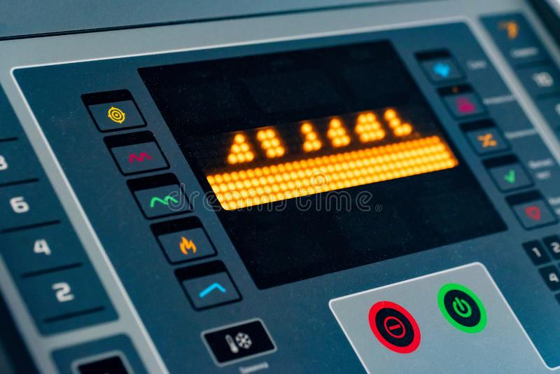 Control panel on modern treadmill in close up royalty free stock image