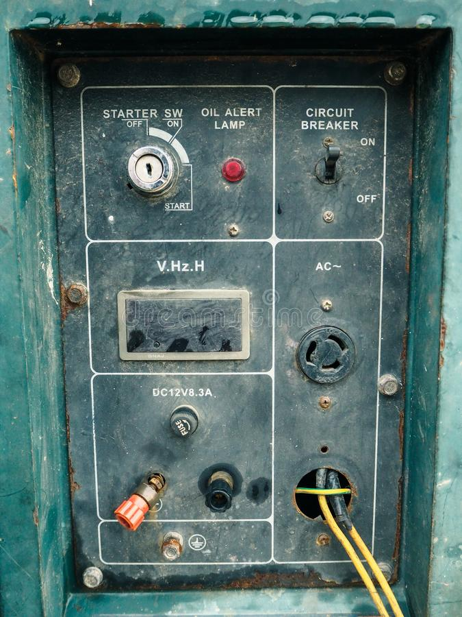 Control panel of the old generator. Close-up control panel of the old generator stock photos