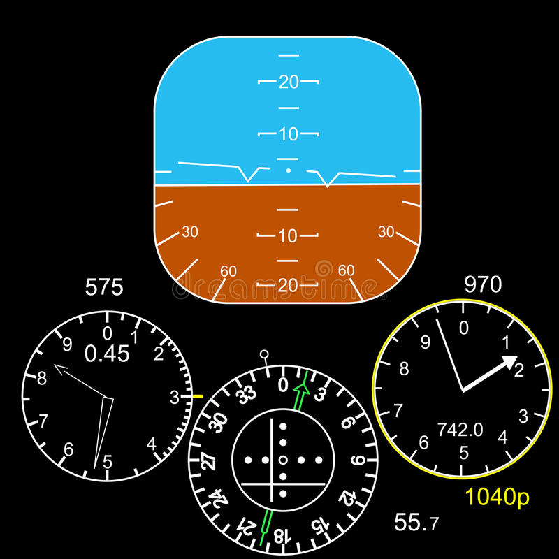 Control panel in a plane cockpit. The Control panel in a plane cockpit vector illustration