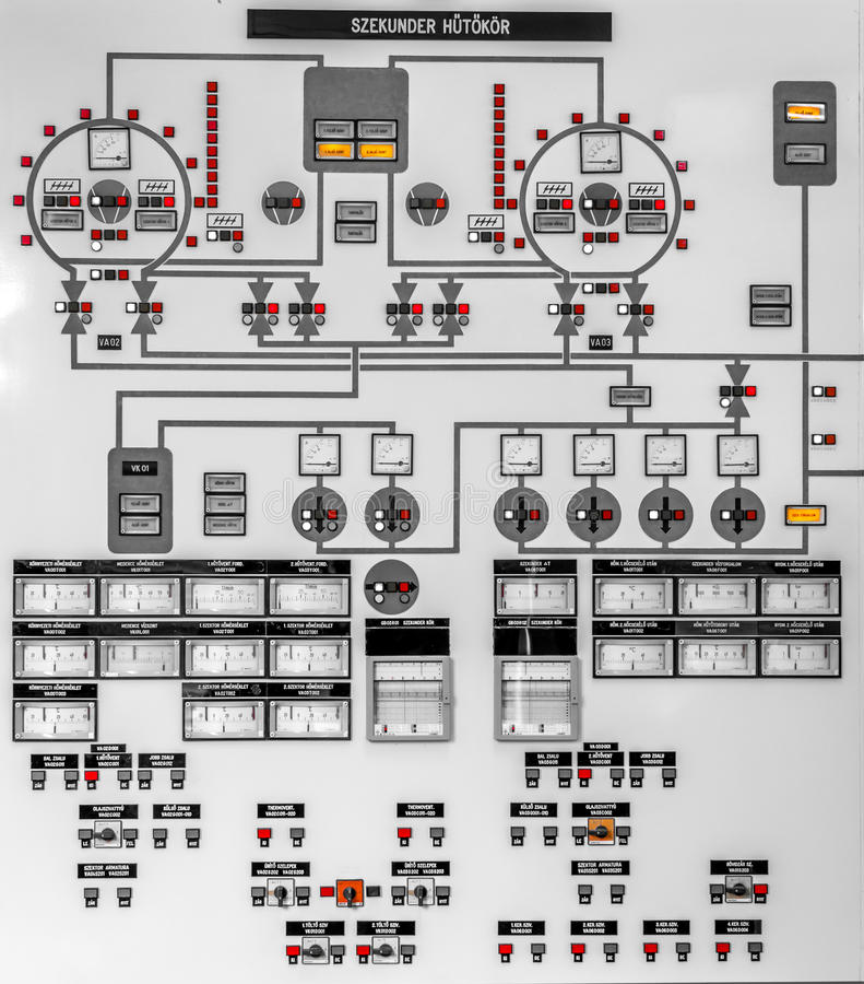 Control Panel Of A Power Plant Stock Image