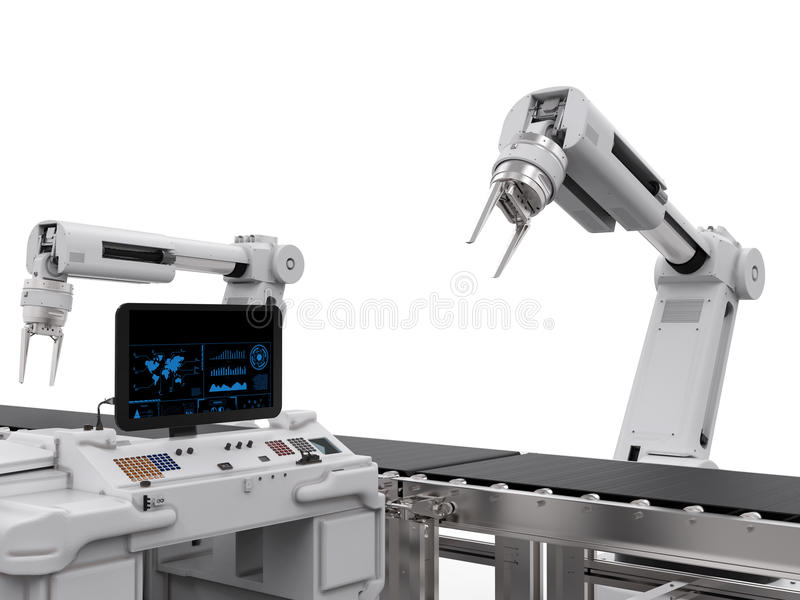 Control panel screen with robotic arms vector illustration