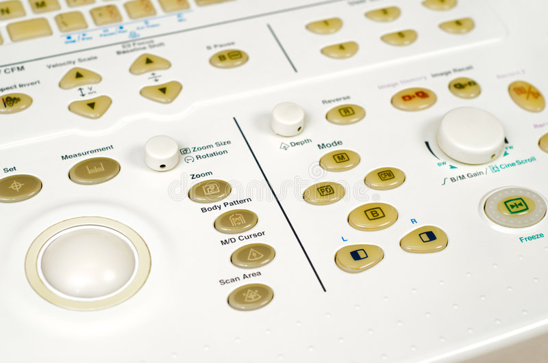 Control panel of ultrasound scanner. Control panel of medical ultrasound scanner stock photos