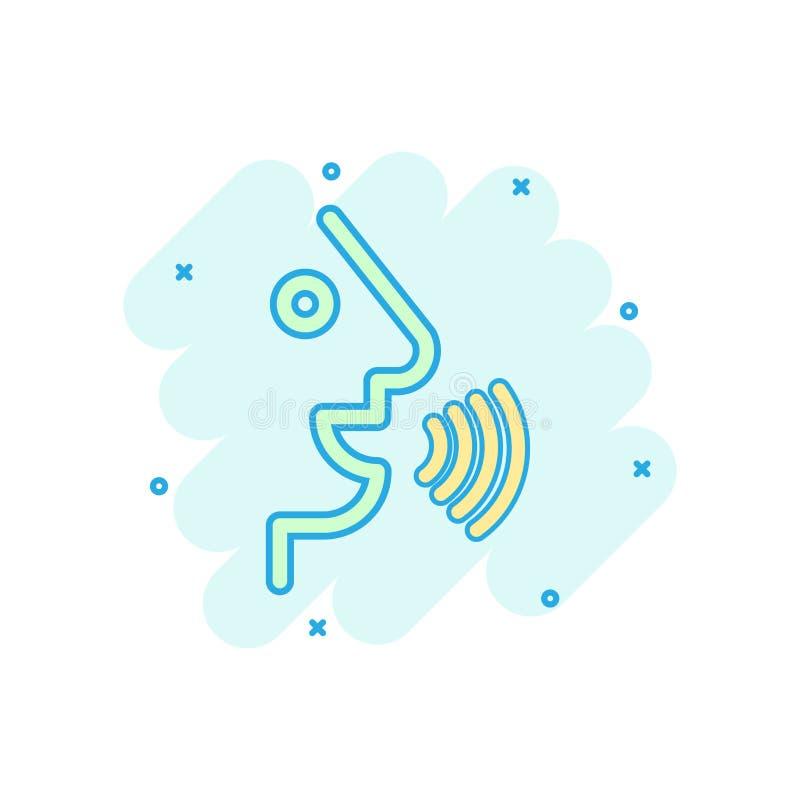 Control por voz con el icono de las ondas acústicas en estilo cómico Hable el pictograma del ejemplo de la historieta del vector  stock de ilustración