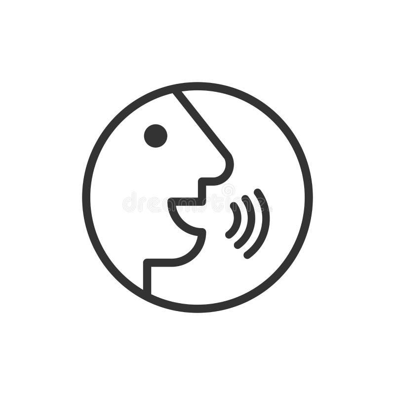 Control por voz con el icono de las ondas acústicas en estilo plano Hable el control stock de ilustración