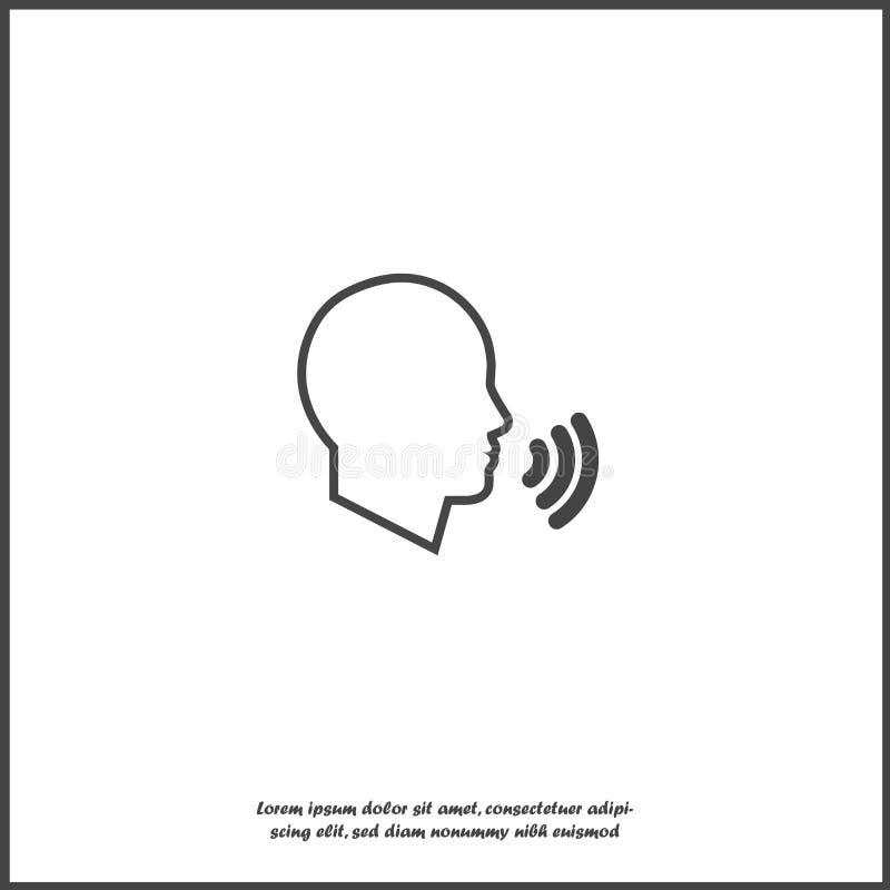 Control por voz del icono del vector, el hablar del hombre Voz sana en el fondo aislado blanco libre illustration
