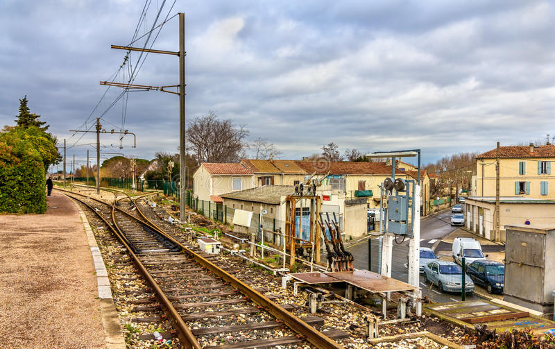 Control post of railway switches - Arles station. France royalty free stock photo