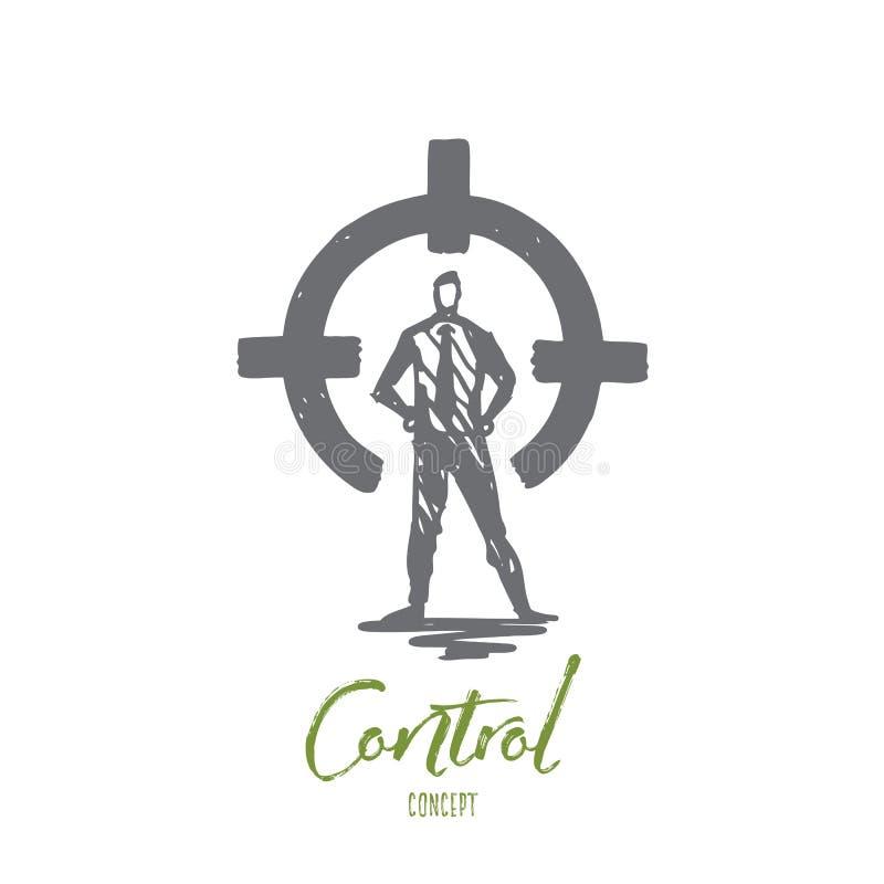 Control, rear sight, aim, target, circle concept. Hand drawn isolated vector. Control, rear sight, aim, target, circle concept. Hand drawn person in suit on stock illustration