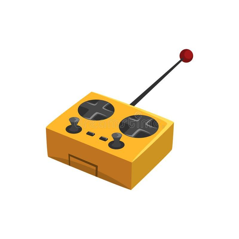 Control remoto amarillo para el quadcopter con la antena y diversos botones Icono plano del vector de la palanca de mando inalámb stock de ilustración