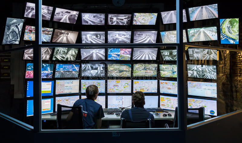 Control room of the attraction Grand Russian layout. royalty free stock photos