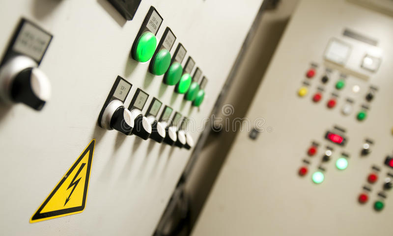 Control room of a extra large cargo ship. Control Room of an extra large ship - with all buttons panel, emergency stop stock photography