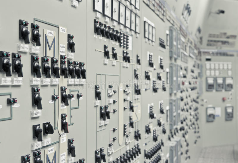Control room of the nuclear power generation plant royalty free stock photography