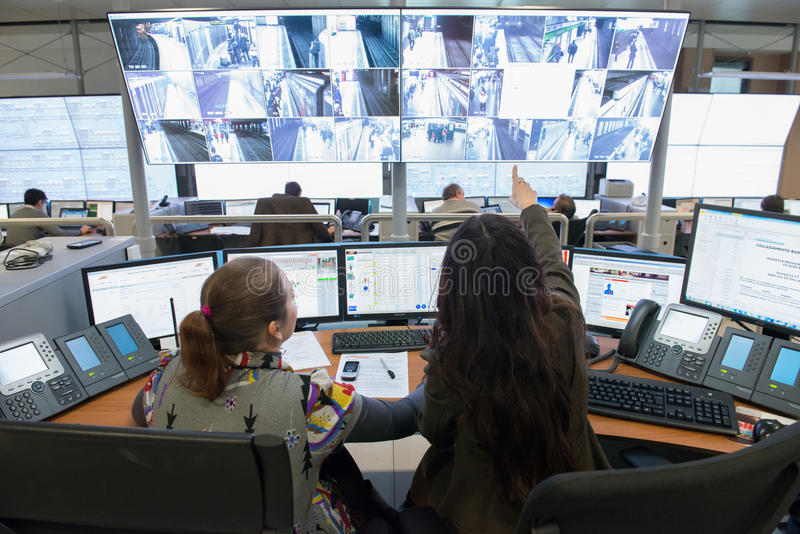 Control Room. Official opening of the new control room for the subways of Milan. At the headquarters of the ATM, on november 15, 2013, Milano - ITALY royalty free stock photos