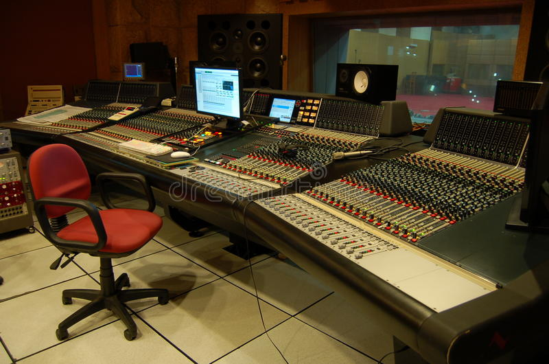 The control room of a professional music recording studio stock photos
