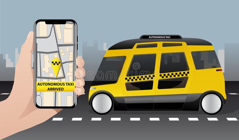 Control of autonomous taxi by mobile app. stock illustration