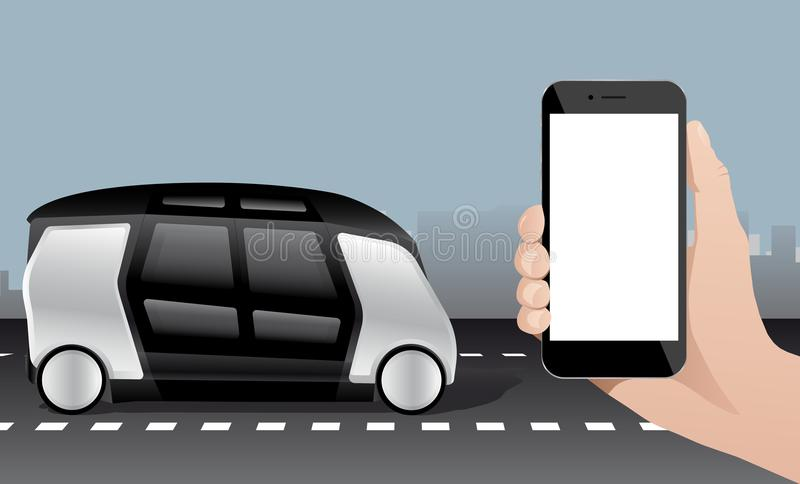 Control of self driving bus by mobile app. stock illustration