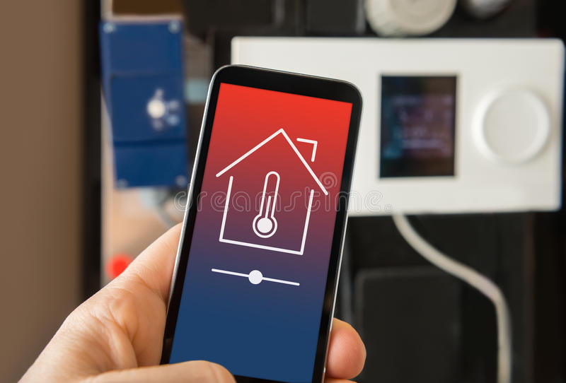Control smart home heating stock photography
