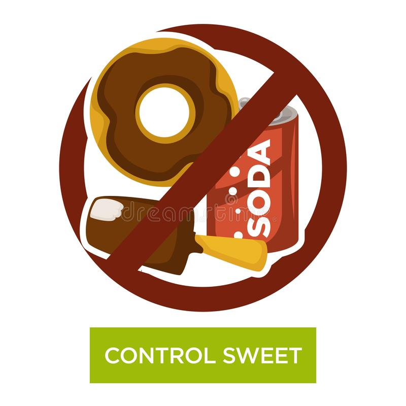 Control sweet and sugar-containing food and drink vector illustration