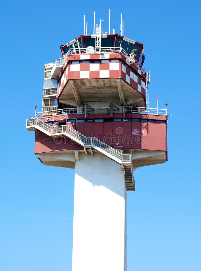 Control tower. Leonardo da Vinci airport control tower in Rome, Italy royalty free stock image